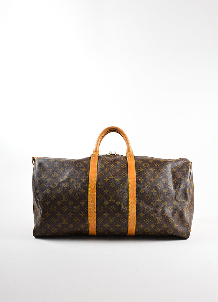 "Louis Vuitton Brown Canvas and Leather Monogram ""Keepall 55 Bandouliere"" Bag Frontview"