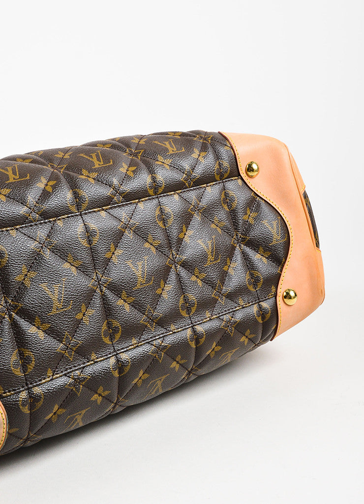 "Brown Tan Louis Vuitton Coated Canvas Monogram Quilted ""Etoile Tote Detail"