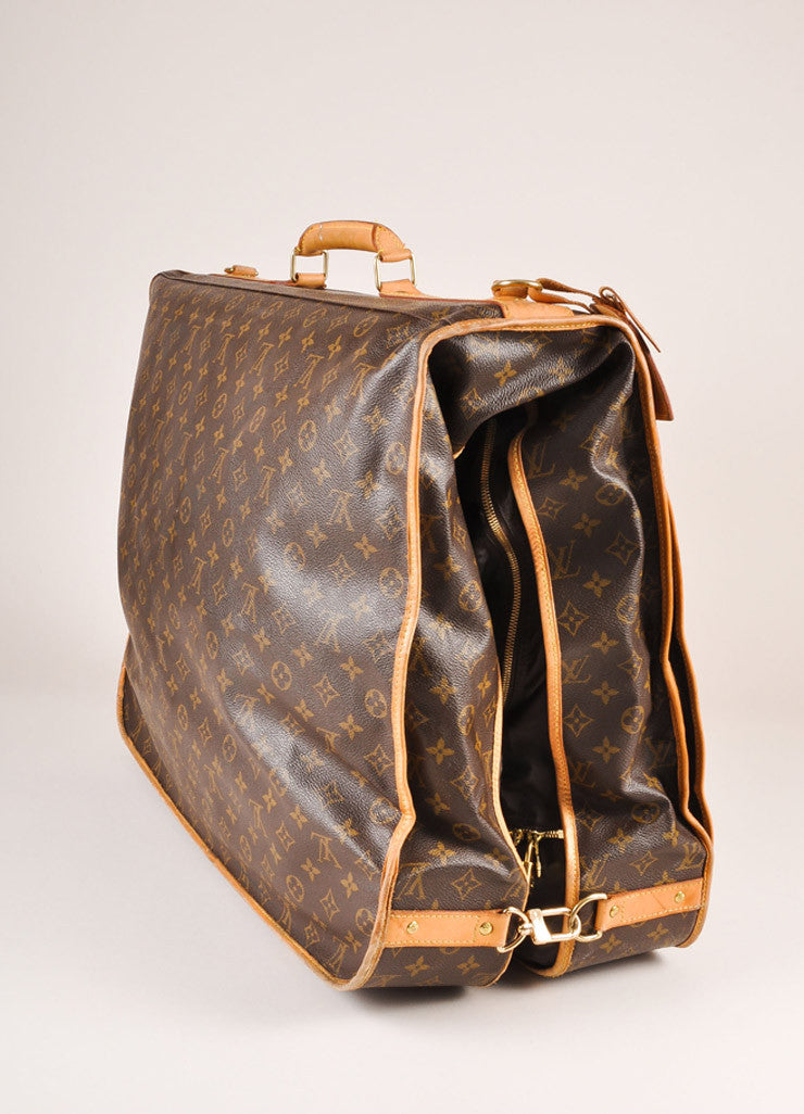 Louis Vuitton Brown and Tan Monogram Coated Canvas Garment Bag Sideview