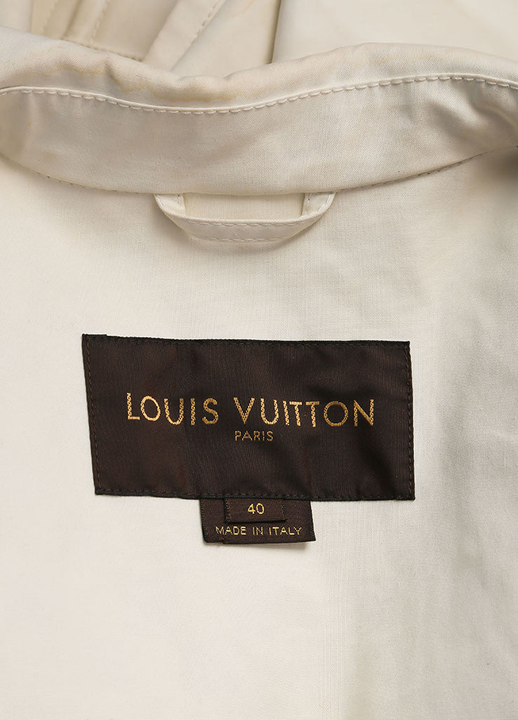 Louis Vuitton Cream Double Breasted Short Cotton Trench Coat Brand
