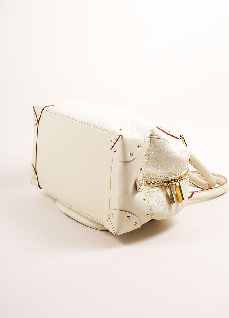 "Louis Vuitton Cream and Gold Toned Suhali Leather Studded ""Le Superbe"" Satchel Bag Bottom View"
