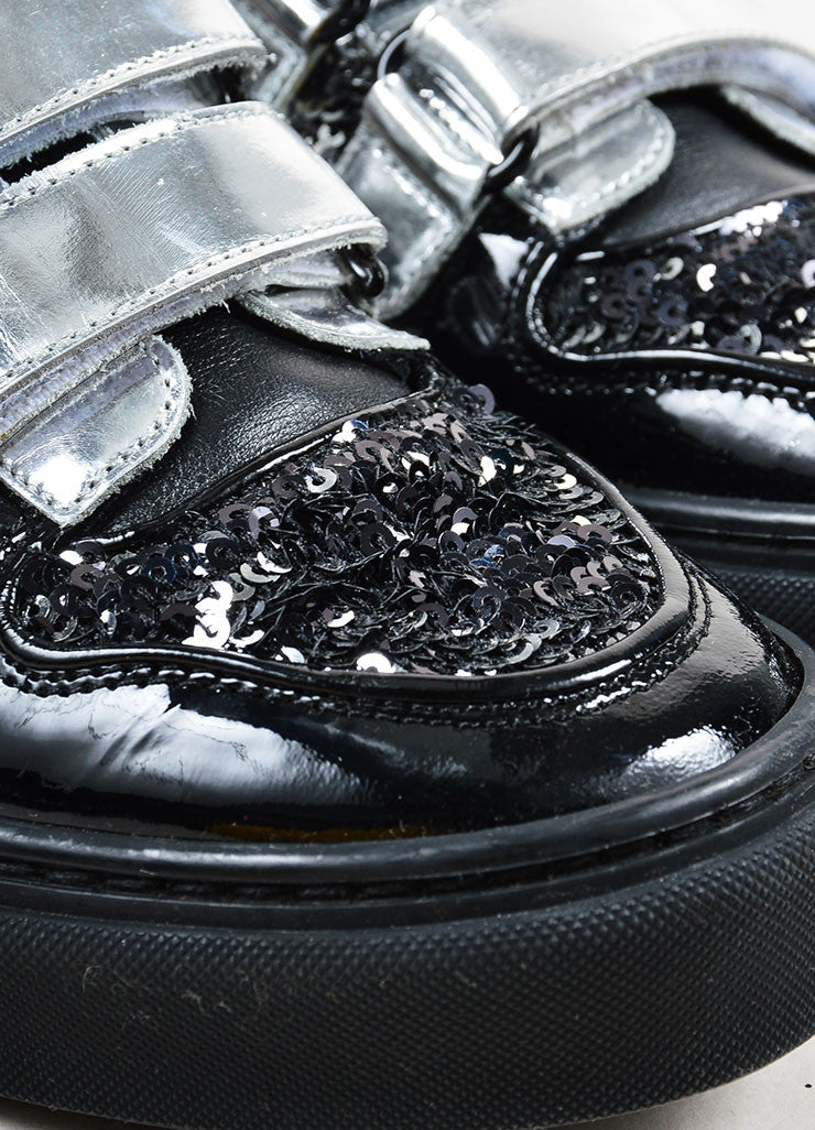 Metallic Silver and Black Louis Vuitton Leather Sequined High Top Sneakers Detail