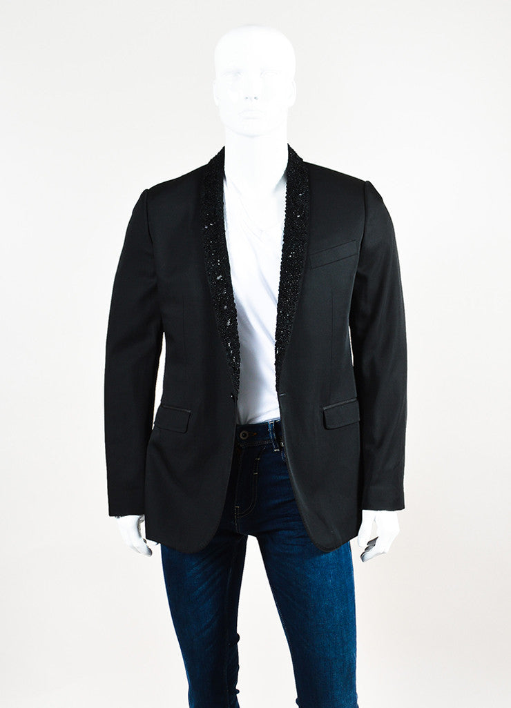 Men's Dolce & Gabbana Black Wool Embellished Lapel Evening Jacket Front