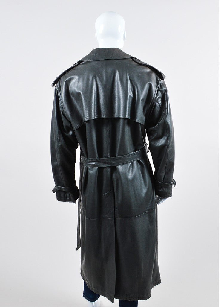 Men's Giorgio Armani Charcoal Grey Leather Belted Trench Coat Backview
