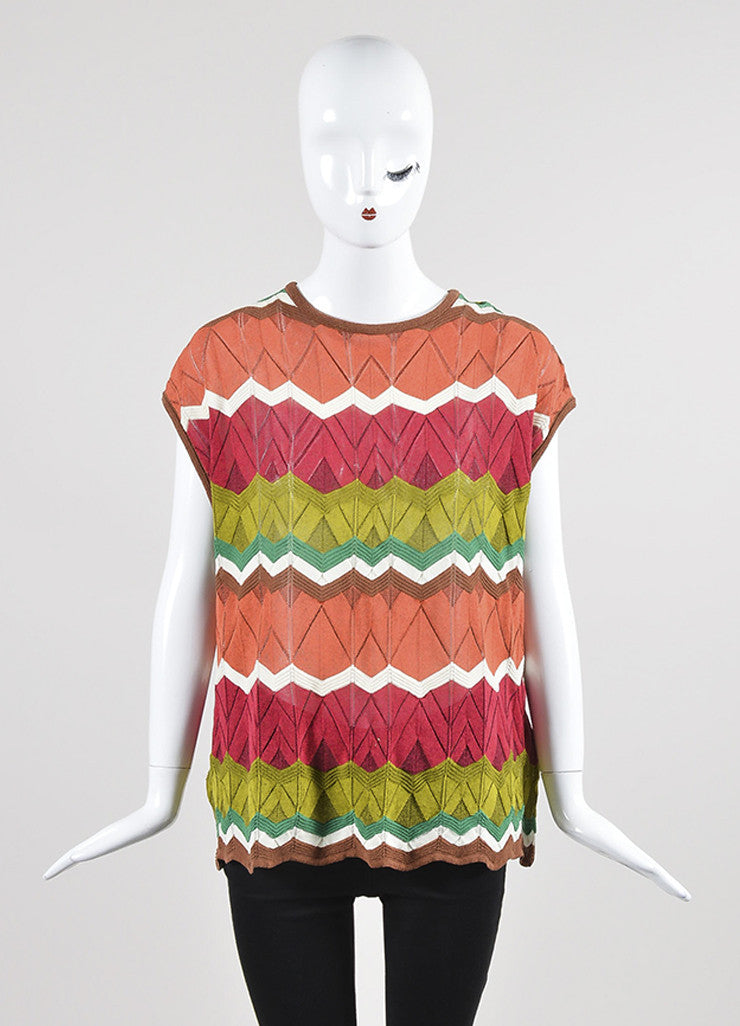 Multicolor M Missoni Cotton Blend Knit Zig Zag Sleeveless Top Frontview
