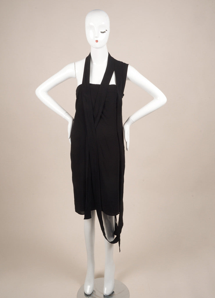 Maison Martin Margiela New With Tags Black Jersey Strappy One Shoulder Dress Frontview