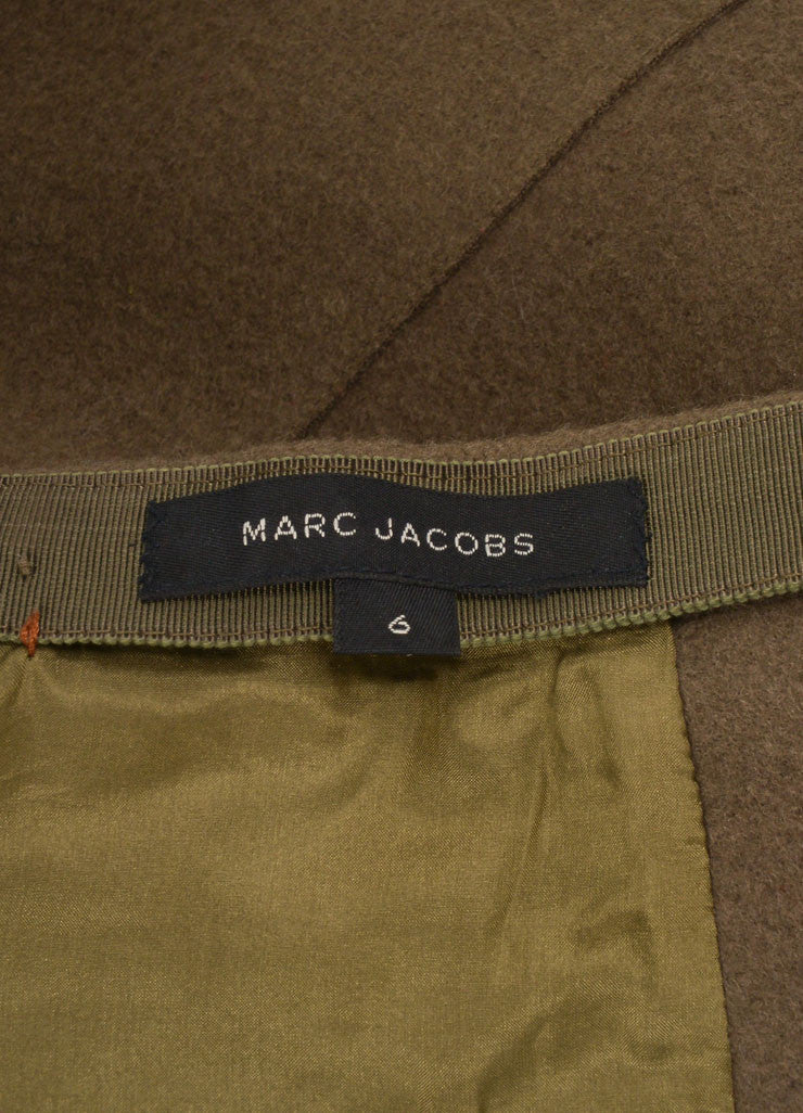 Marc Jacobs Army Green Wool Wrap Belted A-Line Midi Skirt Brand