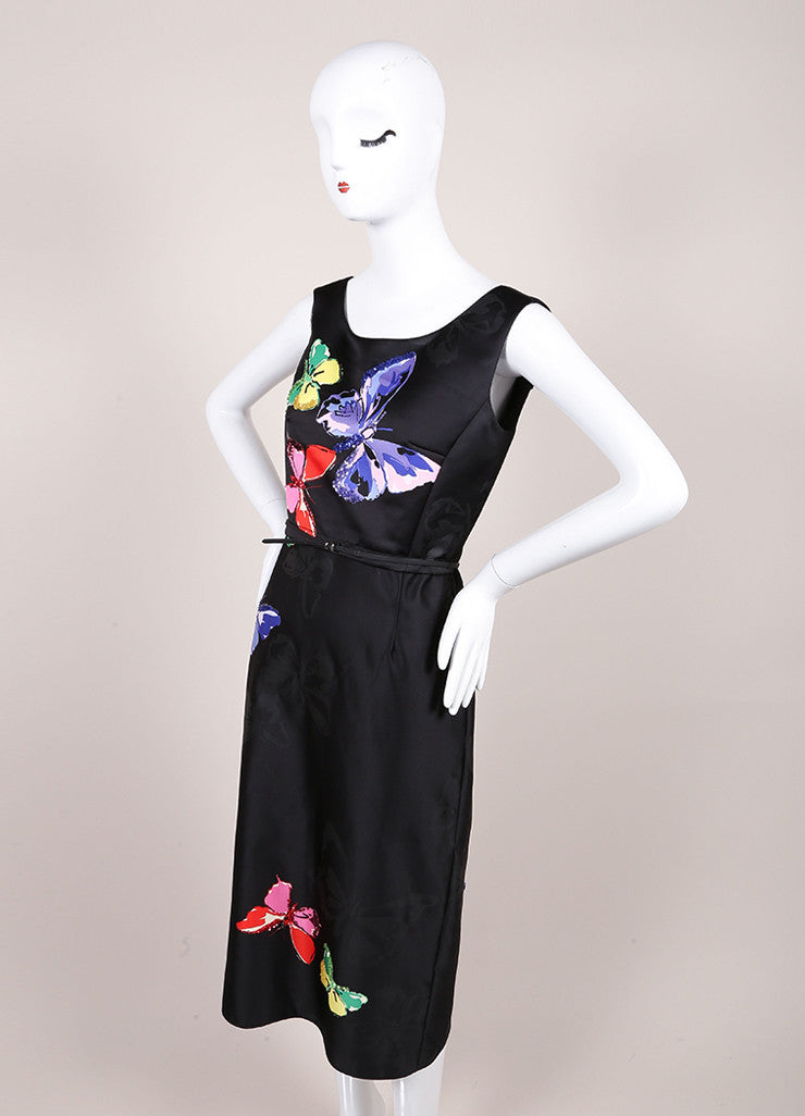 Marc Jacobs New With Tags Black Butterfly Sequin Print Sleeveless Midi Sheath Dress Sideview