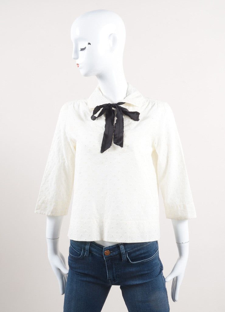 Marc Jacobs New With Tags Cream and Black Ribbon Tie Cropped Cotton Eyelet Blouse Frontview
