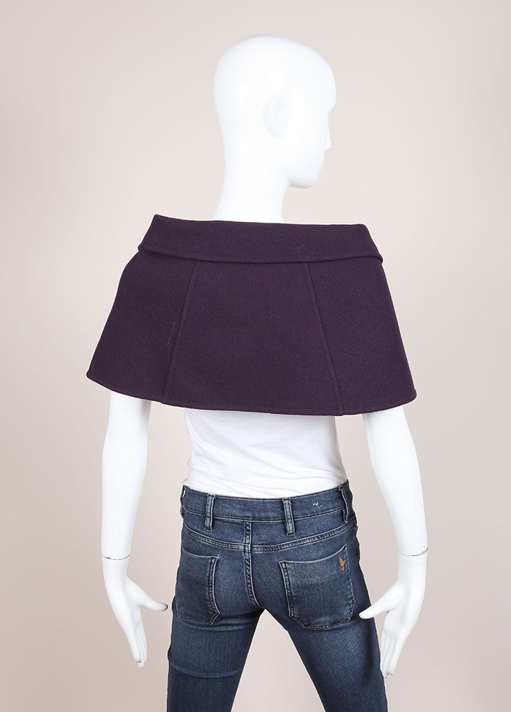 Marc Jacobs Purple Wool Buttoned and Collared Cape Backview