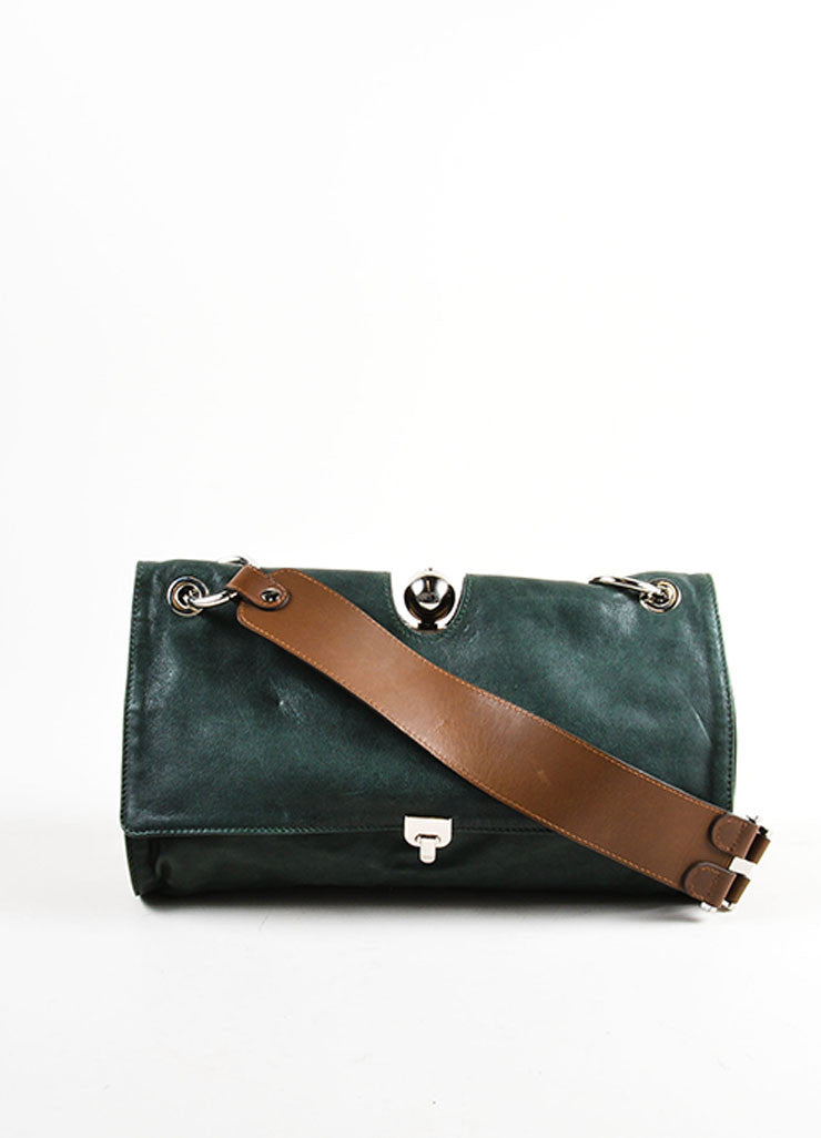 Dark Green, Mauve, and Brown Marni Leather Satchel Shoulder Bag Frontview