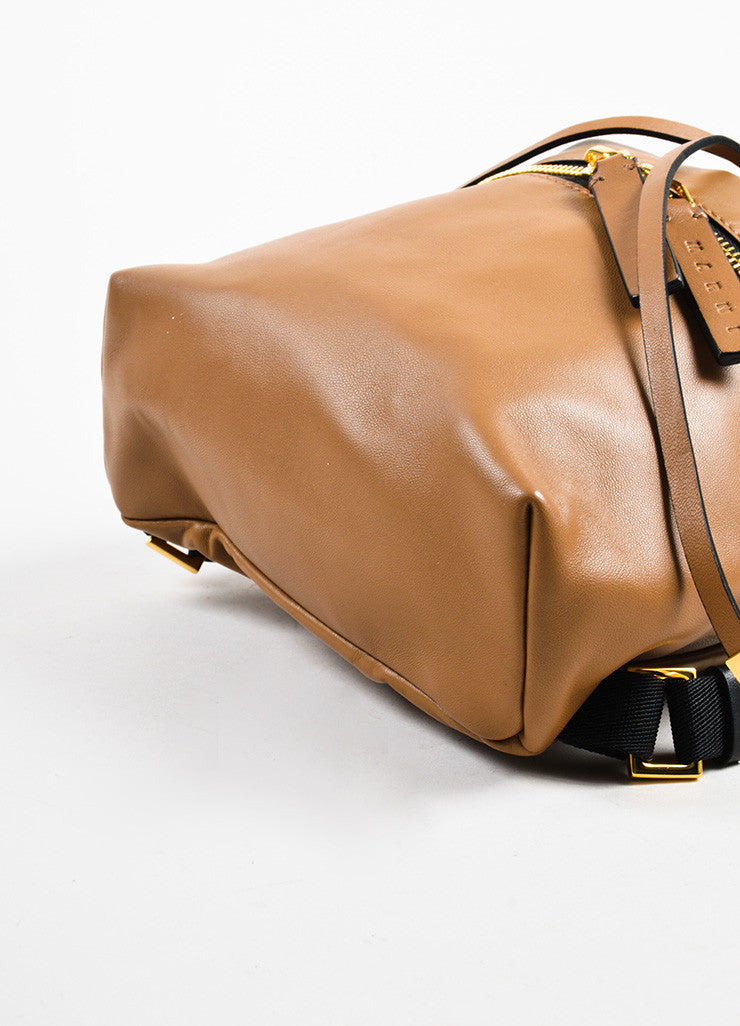 Marni Tan Leather Zip Detail Drawstring Bucket Backpack Bag Bottom View
