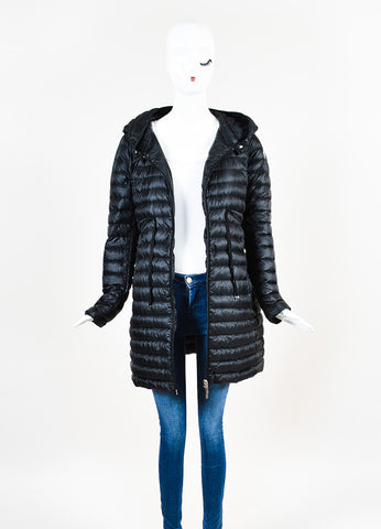 Black Moncler Down Puffer Hooded Zip Coat Front