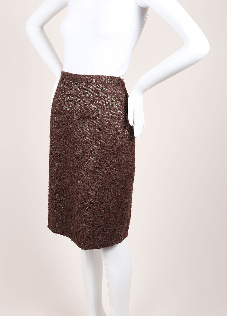Moschino Cheap and Chic New With Tags Brown Metallic Gold Wool Boucle Pencil Skirt Sideview