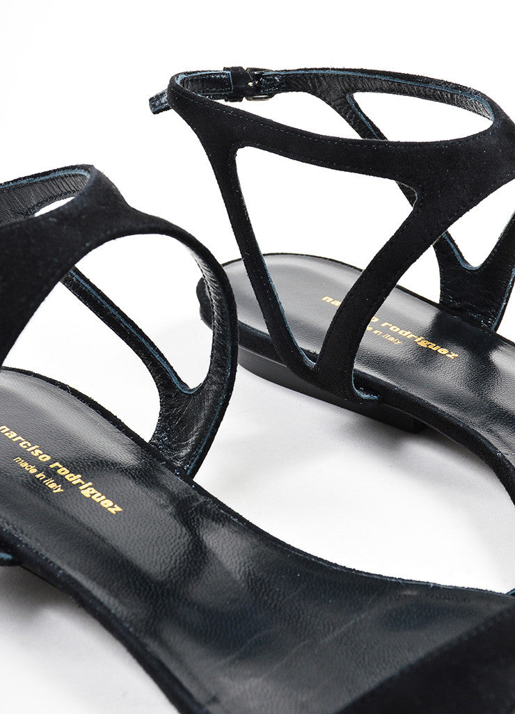 "Black Suede Narciso Rodriguez ""Carolyn"" Flat Sandals Detail"