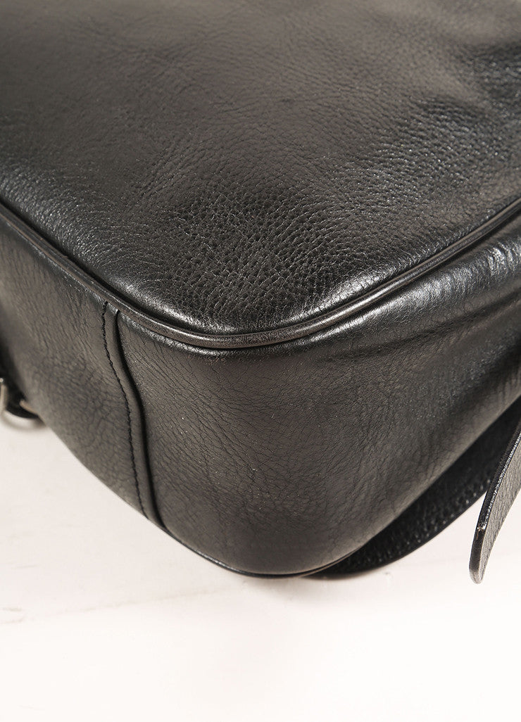 Prada Black Leather Saddle Bag Detail