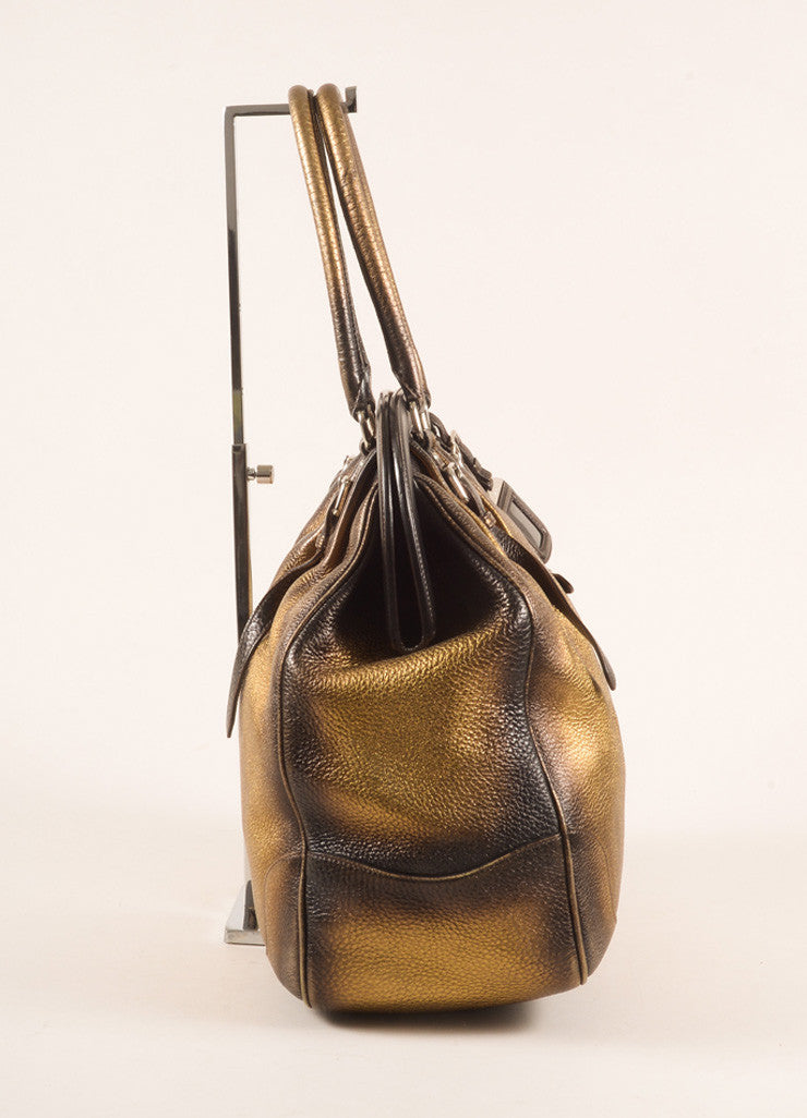 Prada Bronze and Gold Pebbled Leather Ombre Structured Tote Bag Sideview