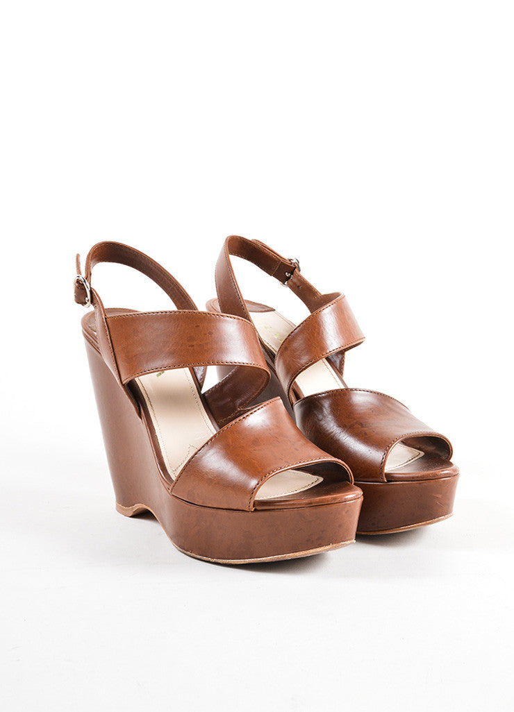 Prada Brown Leather Cut Out Strappy Platform Wedge Sandals Frontview