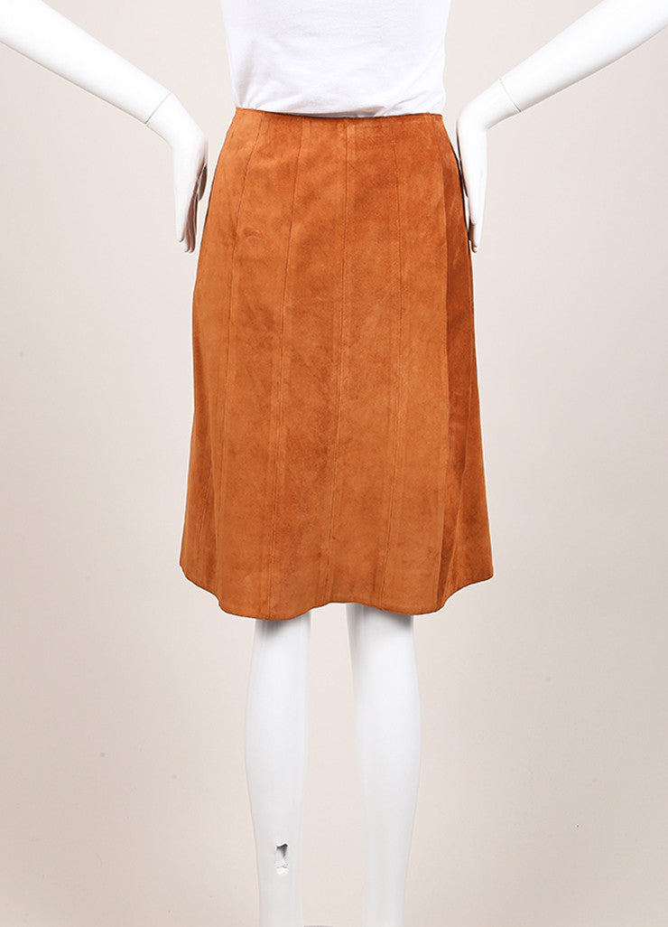 Prada Cognac Suede Leather Button Down A-Line Skirt Backview