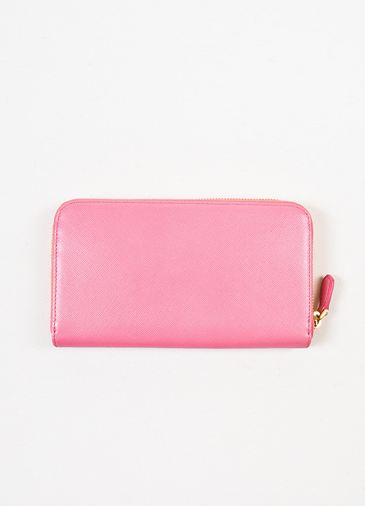 Prada Pink Gold Toned Saffiano Leather Zip Around Wallet Backview