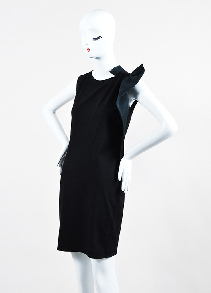 Red Valentino Black Knit Asymmetrical Shoulder Bow Sleeveless Stretch Cocktail Dress Sideview