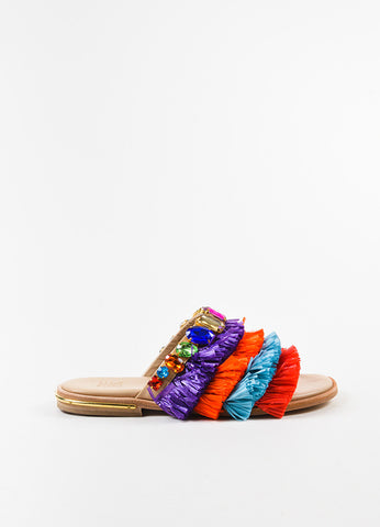 "Stella Jean Multicolor Raffia Jewel ""Zone Manager"" Slide Sandals Sideview"