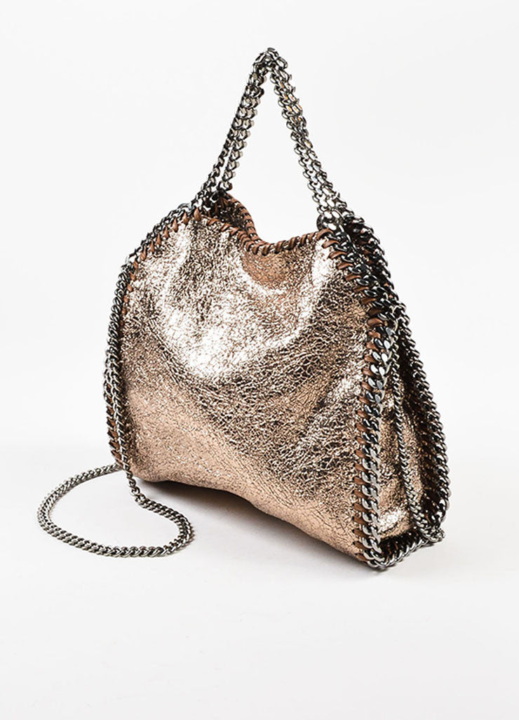 "Stella McCartney Bronze Metallic Mini ""Falabella"" Chain Strap Tote Bag Sideview"