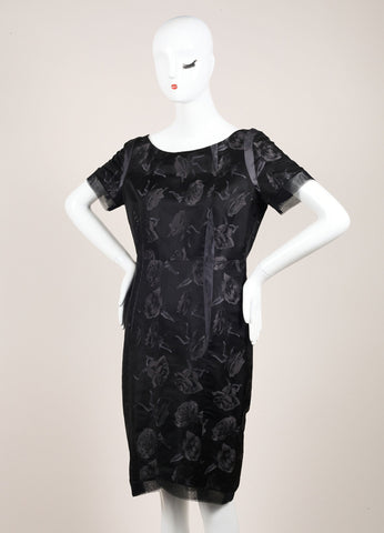 Thakoon Black Mesh Silk Abstract Rose Print Sheath Dress Sideview