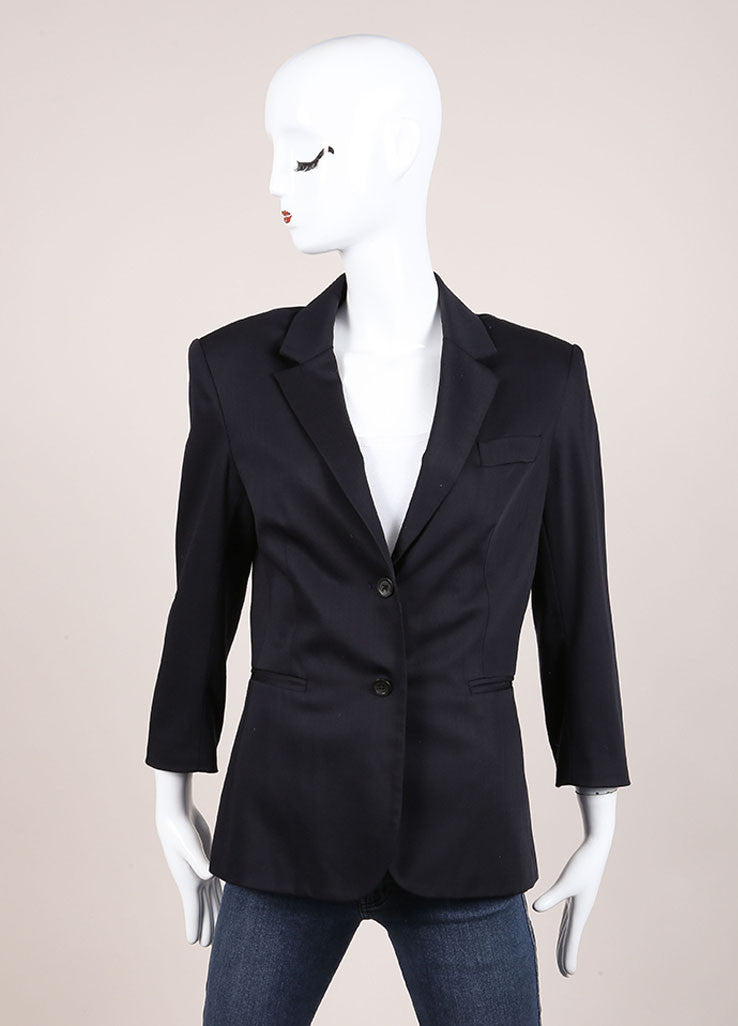 The Row Black Wool Blend Classic Buttoned Quarter Sleeve Blazer Frontview