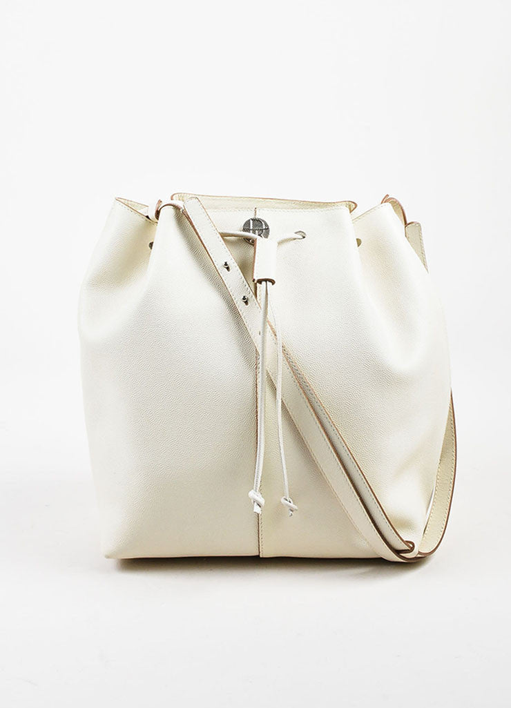 "The Row White and Brown Pebbled Leather Drawstring ""Bucket 10"" Bag Frontview"