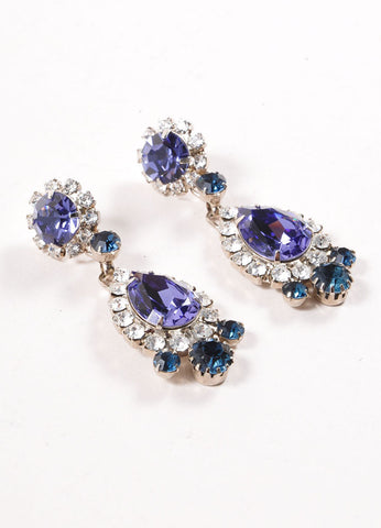 Thorin & Co  Purple and Blue Glass Rhinestone Embellished Drop Earrings Sideview