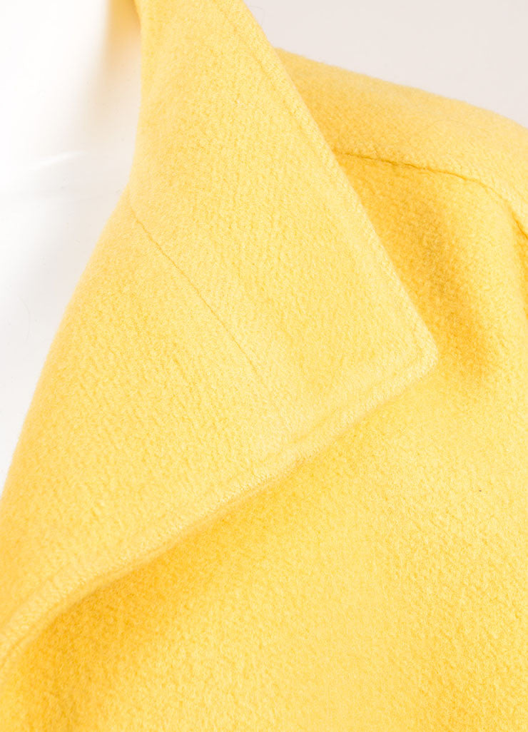 Chloe Yellow Wool Oversized Open Front Crop Sleeve Coat Detail