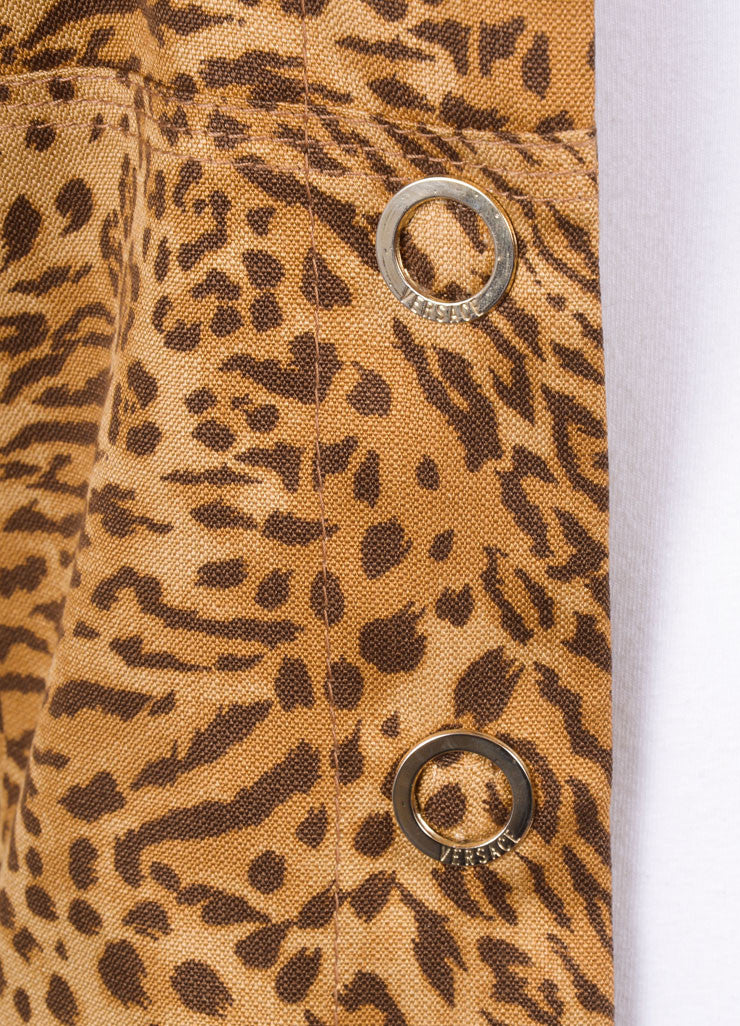 Gianni Versace Brown Silk Leopard Print Tailored Button Jacket Detail
