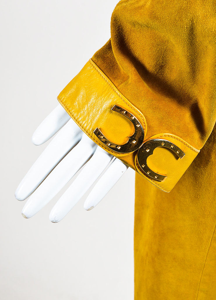 Gucci Yellow Suede Leather Trim Horseshoe Hardware Long Jacket Detail 2