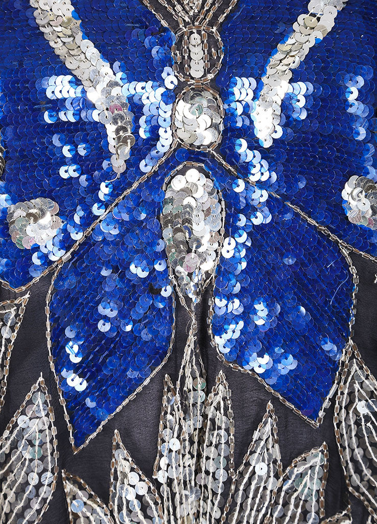 Gunit Black, Silver, and Blue Butterfly Sequin Asymmetric Hem Draped Blouse Detail