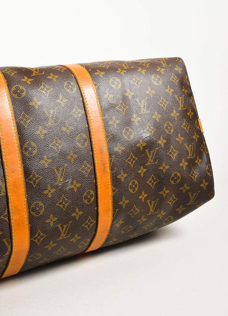 "Louis Vuitton Brown Coated Canvas Monogram ""Keepall 55"" Duffle Bag Bottom View"