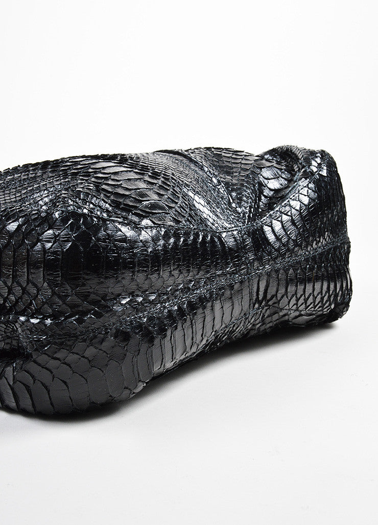 "Valentino Garavani Black Python Dual Handle Slouchy ""Nuage Bow"" Bag Bottom View"