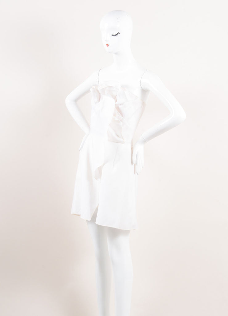 Valentino Cream Ruffled Strapless Mini Sheath Dress Sideview