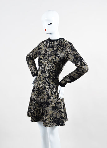 Black and Beige Valentino Metallic Floral Long Sleeve Sweater A-Line Dress Sideview