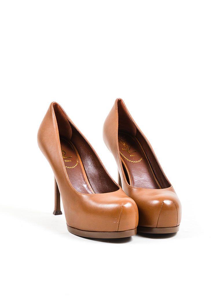 "Brown Leather YSL Yves Saint Laurent ""Tribtoo 80"" Pumps Front"