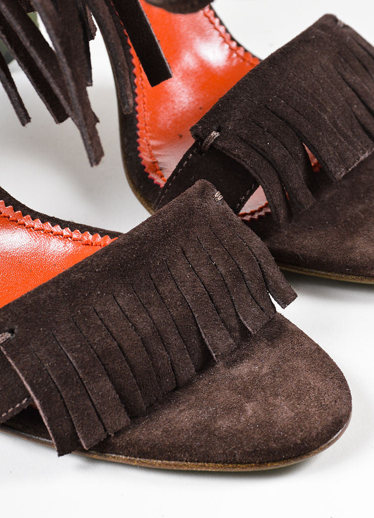 Brown and Green Yves Saint Laurent Suede Leather Fringe Chunky Heel Sandals Detail
