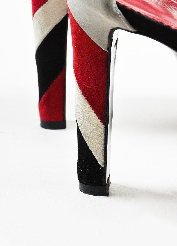 Yves Saint Laurent Dark Red and Black Suede Striped Strappy Platform Sandals Detail 2