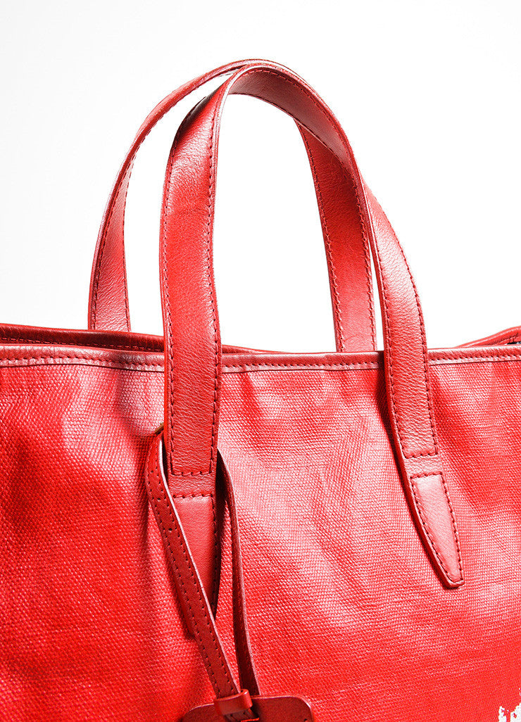 "Red and White Yves Saint Laurent Rive Gauche Canvas ""Raspail"" Painted Tote Bag Detail 2"