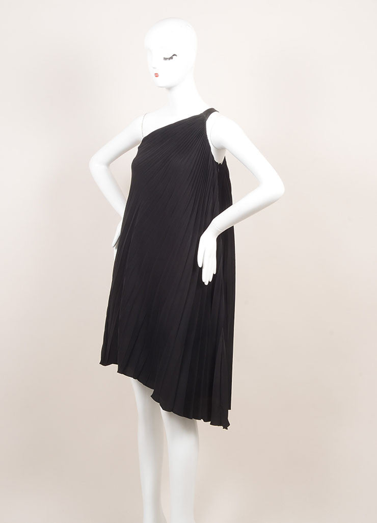 Dior New With Tags Black Silk Pleated  Asymmetrical One Shoulder Dress Sideview