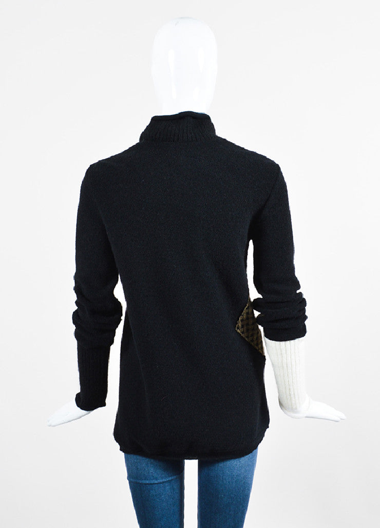 Black and Olive 3.1 Phillip Lim Wool Combo Turtleneck Sweater Backview