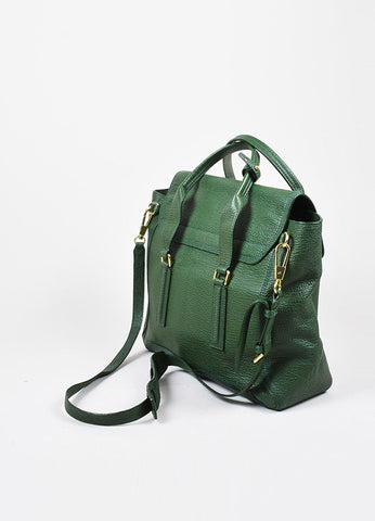 "3.1 Phillip Lim Jade Textured Leather Large ""Pashli"" Satchel Bag Sideview"