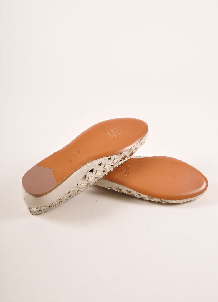 Alaia New In Box Cream and Silver Toned Flat Studded Cut Out Leather Flats Outsoles