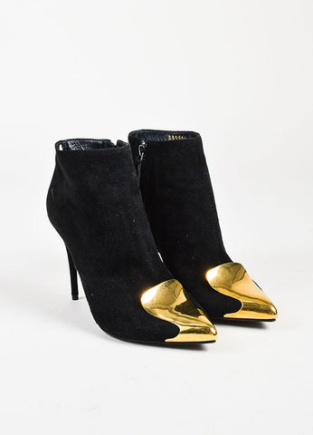 Alexander McQueen Black Suede Gold Toned Pointy Toe Ankle Booties Frontview