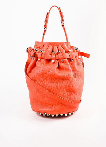 "Alexander Wang Coral Leather Studded Small ""Diego"" Bucket Bag Front"