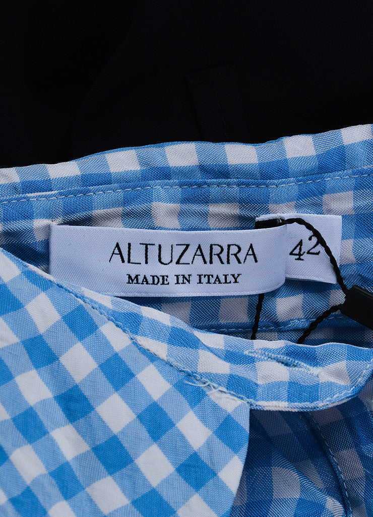 Altuzarra Blue, White, and Black Cotton and Silk Gingham Long Sleeve Shirt Dress Brand